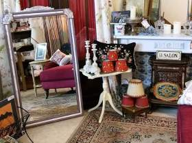 Huge mirror & cream side table